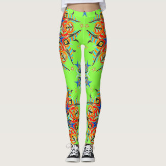 Abstract Pattern Design ( Lime Green ) Leggings