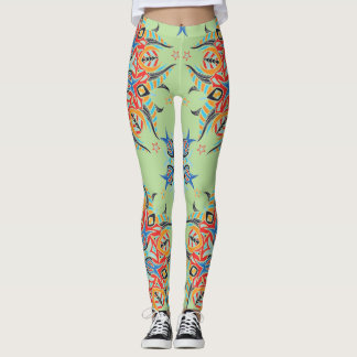 Abstract Pattern Design ( Pale Green ) Leggings