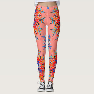 Abstract Pattern Design ( Salmon ) Leggings
