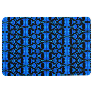 Abstract Pattern Dividers 02 Blue over Black Floor Mat