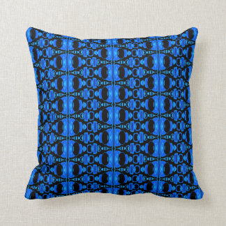 Abstract Pattern Dividers 02 Blue over Black Throw Pillow