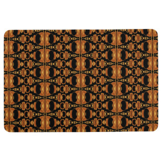 Abstract Pattern Dividers 02 Brown Black Floor Mat