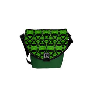Abstract Pattern Dividers 02 Green Black Messenger Bag