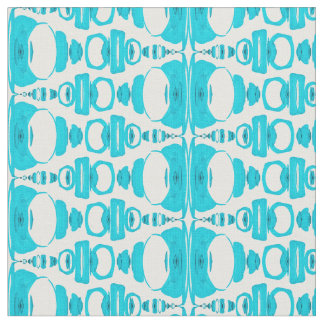 Abstract Pattern Dividers 02 Turquoise over White Fabric