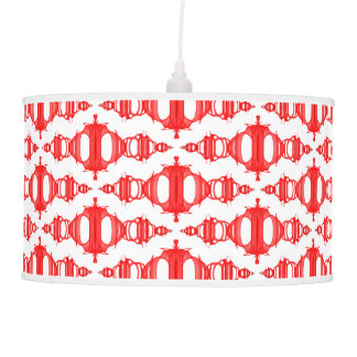 Abstract Pattern Dividers 03 Cherry Red White Pendant Lamp