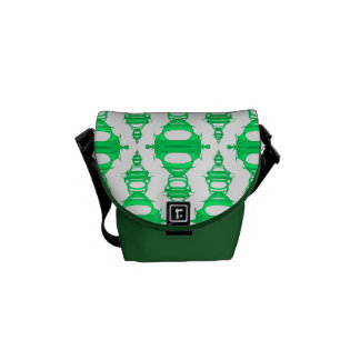 Abstract Pattern Dividers 03 Green Custom White Commuter Bags