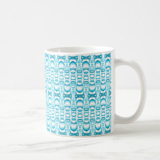 Abstract Pattern Dividers 07 in Turquoise White V Coffee Mug