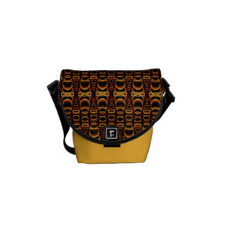 Abstract Pattern Dividers 07 Orange Black Courier Bag