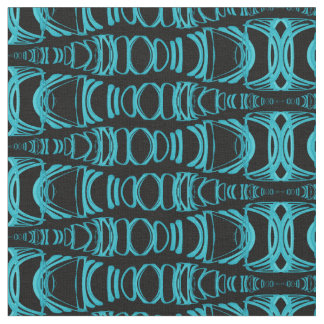 Abstract Pattern Dividers 07 Turquoise Black Fabric