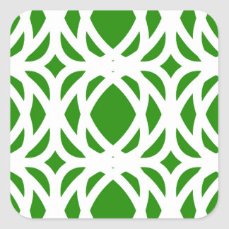 Abstract pattern - green and white. square sticker