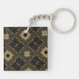 Abstract Pattern Hexagon Kaleidoscope Double-Sided Square Acrylic Keychain