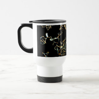 Abstract Pattern in Black and Gold Color. Travel Mug
