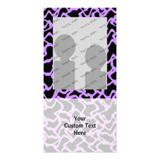 Abstract Pattern in Black and Purple. Customized Photo Card
