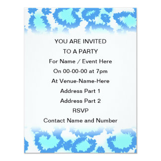 """Abstract Pattern in Blue and Turquoise. 4.25"""" X 5.5"""" Invitation Card"""