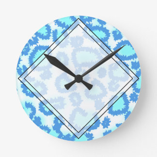 Abstract Pattern in Blue and Turquoise. Round Wallclocks
