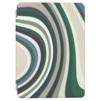 Abstract Pattern Lines Green White And Cream iPad Air Cover