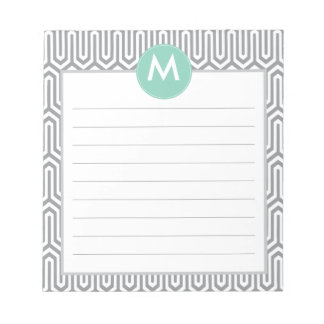 Abstract Pattern Monogram Initial in Mint Grey Notepad