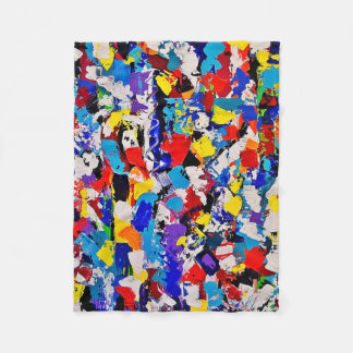 Abstract Pattern Multicolor Colorful Paint Dab Fleece Blanket