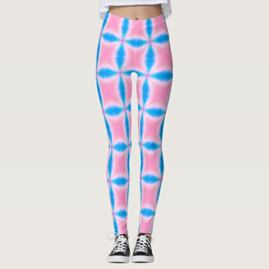 Abstract Pattern of Pink and Blue Squares Leggings