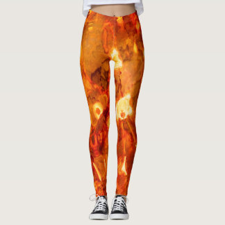 Abstract Pattern Orange Light Effect Leggings