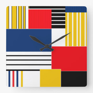 Abstract pattern . Patchwork . Square Wall Clock