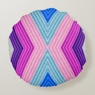 ABSTRACT PATTERN PILLOW, Purple Blue Retro Round Pillow