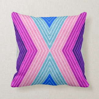 ABSTRACT PATTERN PILLOW, Purple Blue Retro Throw Pillow