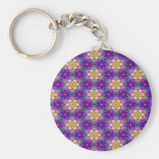 Abstract Pattern Pretty Green Lilac And Red Keychain