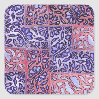 Abstract Pattern Purple and Pink Square Sticker