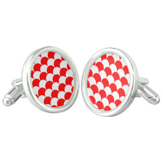 Abstract pattern - red and white. cufflinks