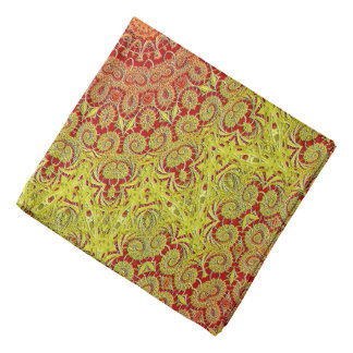 Abstract Pattern Red And Yellow Mosaic Tile Bandana