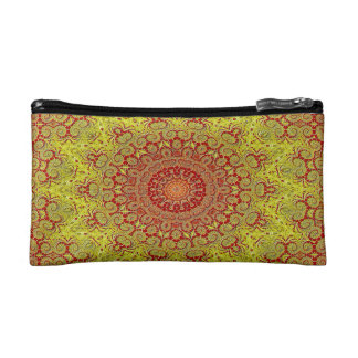 Abstract Pattern Red And Yellow Mosaic Tile Cosmetic Bag