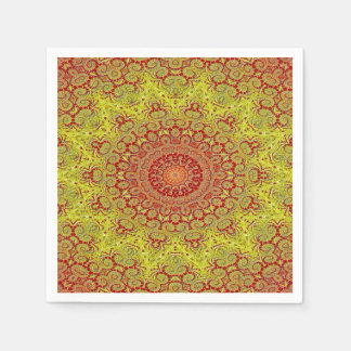 Abstract Pattern Red And Yellow Mosaic Tile Disposable Napkins