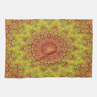 Abstract Pattern Red And Yellow Mosaic Tile Kitchen Towel