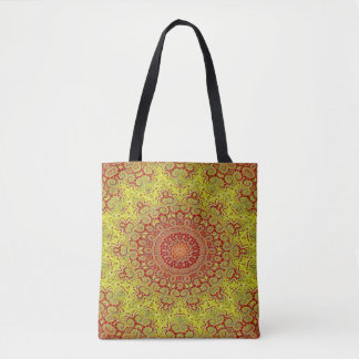 Abstract Pattern Red And Yellow Mosaic Tile Tote Bag