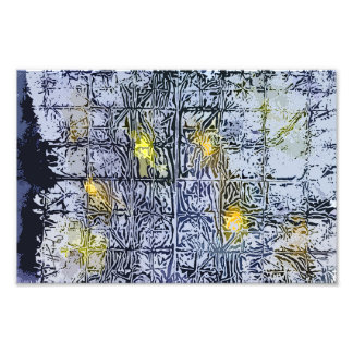 Abstract Pattern with Wax and Ink - Blue Yellow Photo Print