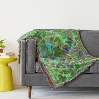 Abstract Patterned Autumn Leaves Throw Blanket