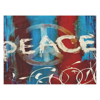 Abstract peace sign in red, blue and white color tablecloth