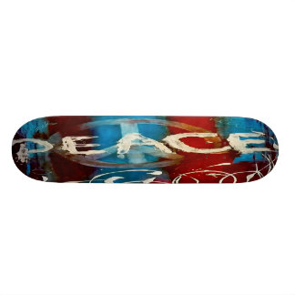 Abstract peace sign skateboard deck