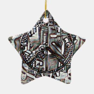 Abstract peace symbol ceramic ornament