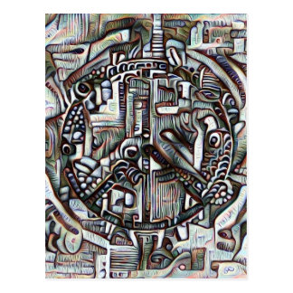 Abstract peace symbol postcard
