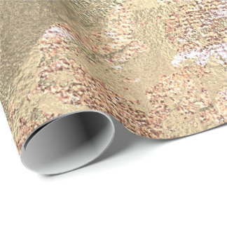 Abstract Peach Blush Paint Golden Metallic Strokes Wrapping Paper