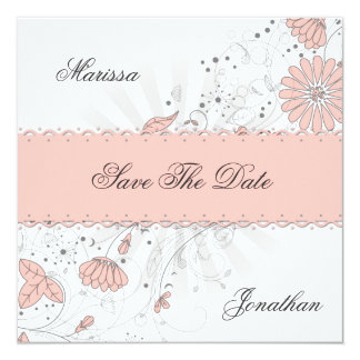 Abstract Peach Flowers Gray Sunburst Save The Date Card