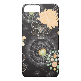 Abstract Peach, Light Green, White Flowers iPhone 7 Plus Case