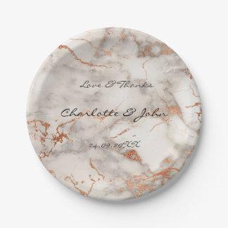 Abstract Peach Rose Gold Minimal Custom Wedding Paper Plate