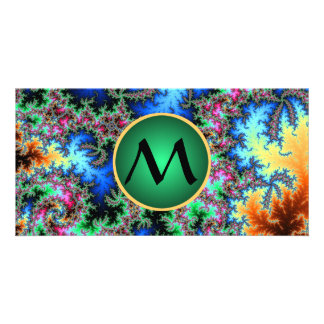 Abstract Peacock Feathers, fractal with monogram Photo Greeting Card