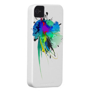 Abstract Peacock Paint Splatters iPhone 4 Covers