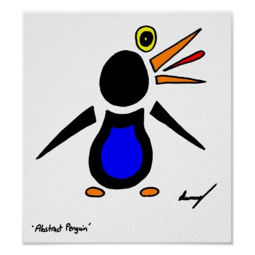 Abstract Penguin Poster