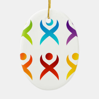 Abstract people- colorful people ceramic oval ornament