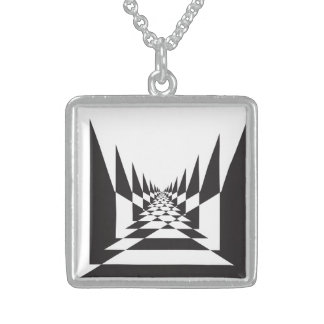Abstract perspective chess board sterling silver necklace